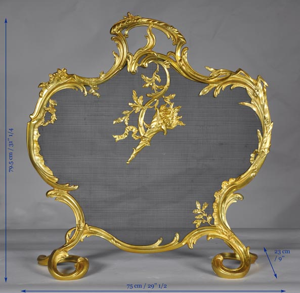 Antique Rococo - Louis XV style fire screen with torch decor-7
