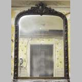 Very beautiful antique stucco mirror patinated in faux wood with fruits decor