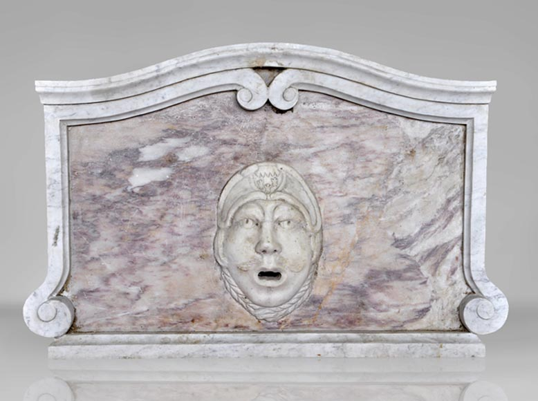 Fountain pediment in Carrara and Fleur de Pecher marbles - Reference 10150