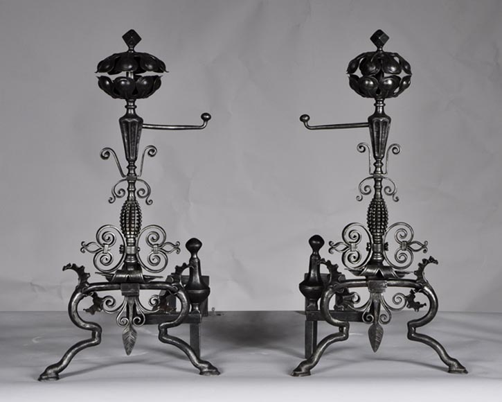 Pair of antique wrought iron andirons - Reference 10154