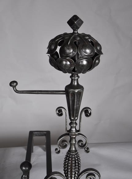 Pair of antique wrought iron andirons-2
