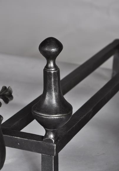 Pair of antique wrought iron andirons-5