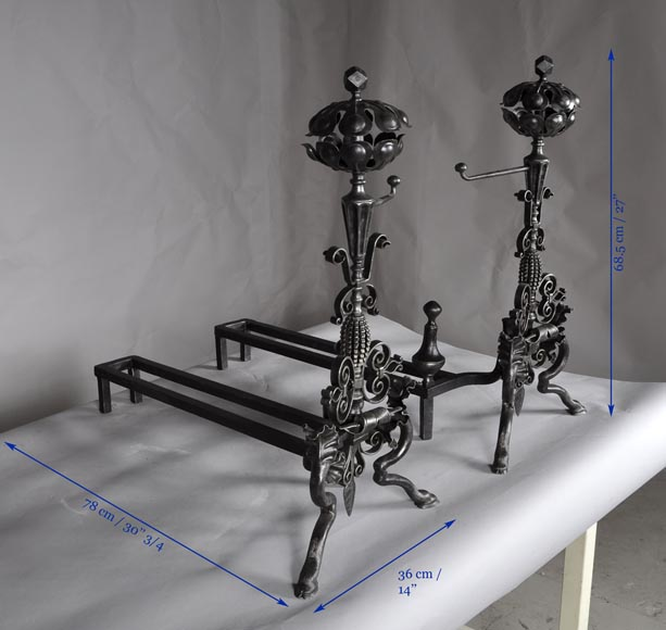 Pair of antique wrought iron andirons-7