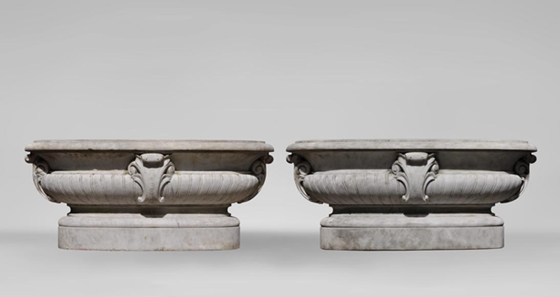 Antique pair of planters in white Carrara marble-0