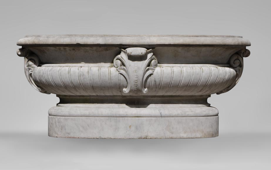 Antique pair of planters in white Carrara marble-1