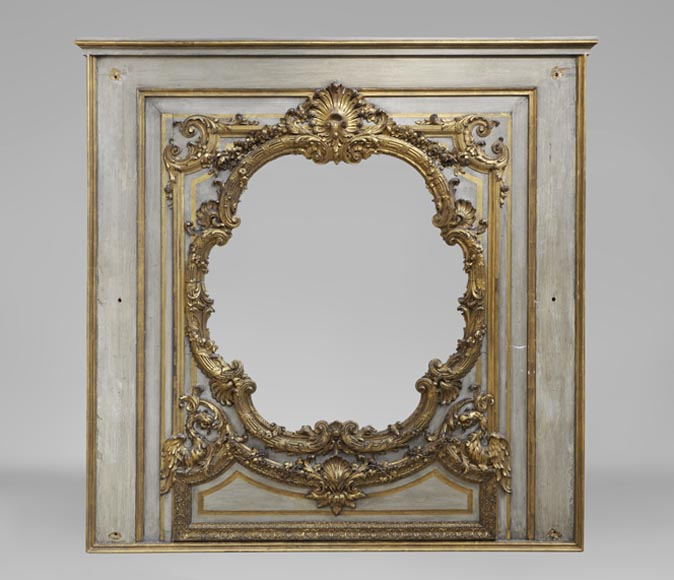Very beautiful antique 18th century overmantel in carved and gilded wood - Reference 10164