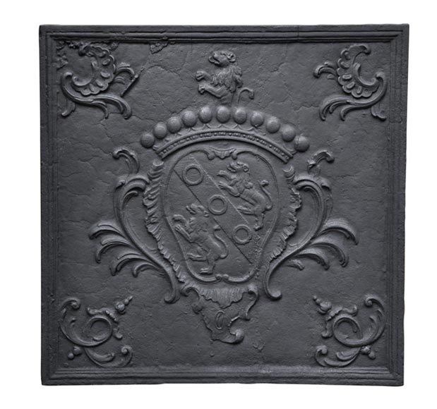 Beautiful antique Louis XV 18th century cast iron fireback with François Brigeat's coat of arms - Reference 10169