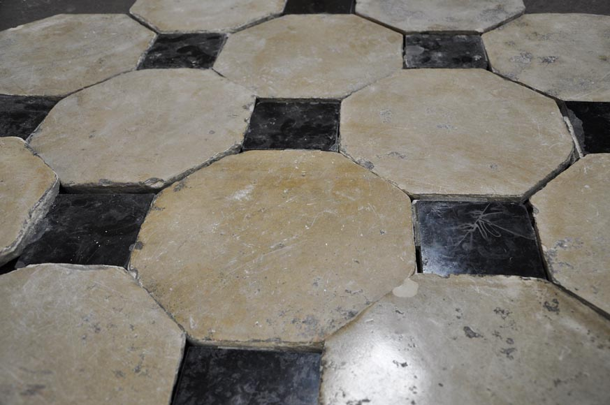 Antique Stone Floor With Black Marble Cabochons Floors