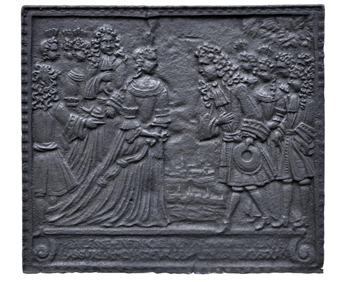 """Gentlemen introduced to the Queen"", 18th cast iron fireback - Reference 10232"