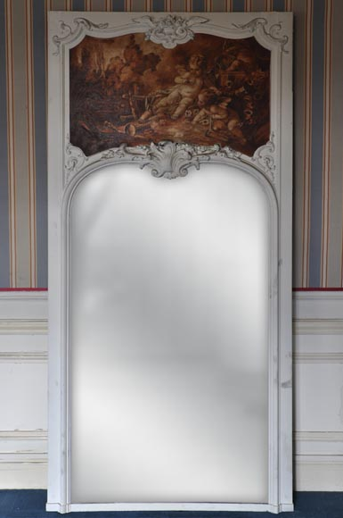Louis XV style Overmantel depicting putti playing with arrow-0