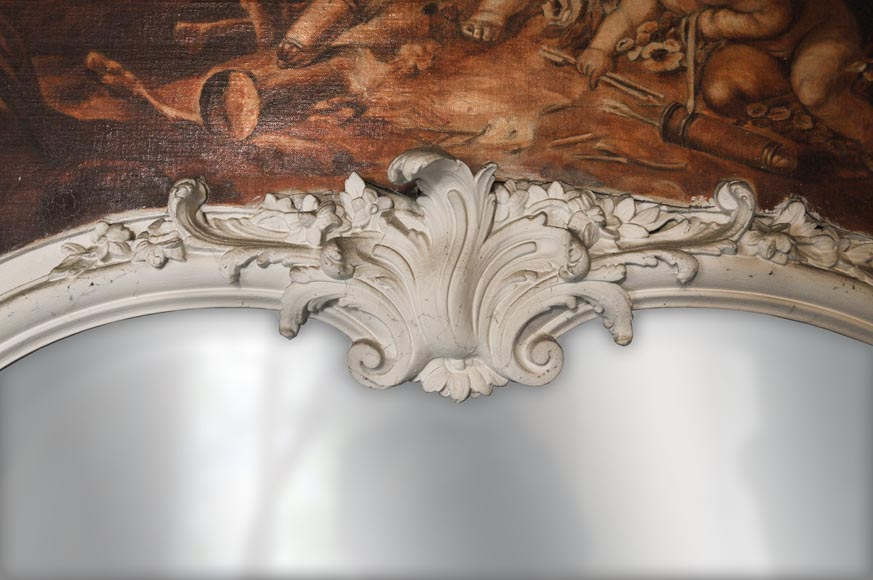 Louis XV style Overmantel depicting putti playing with arrow-1