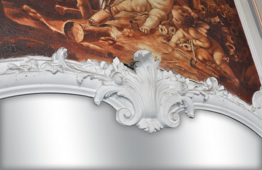 Louis XV style Overmantel depicting putti playing with arrow-2