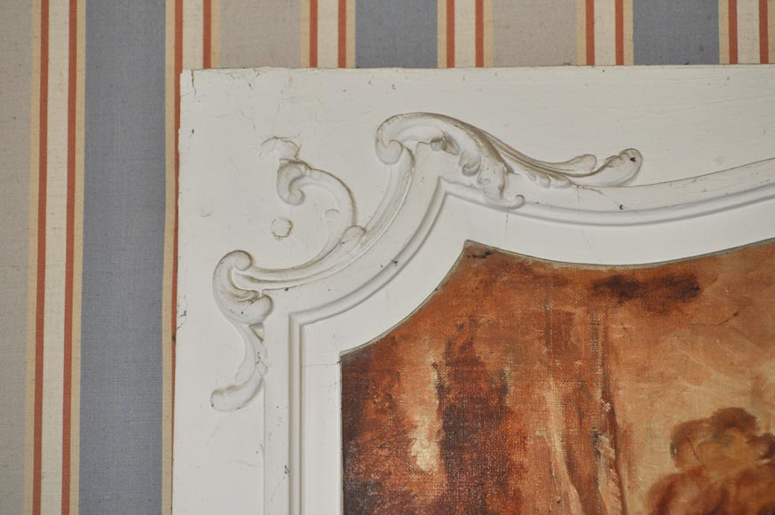 Louis XV style Overmantel depicting putti playing with arrow-4