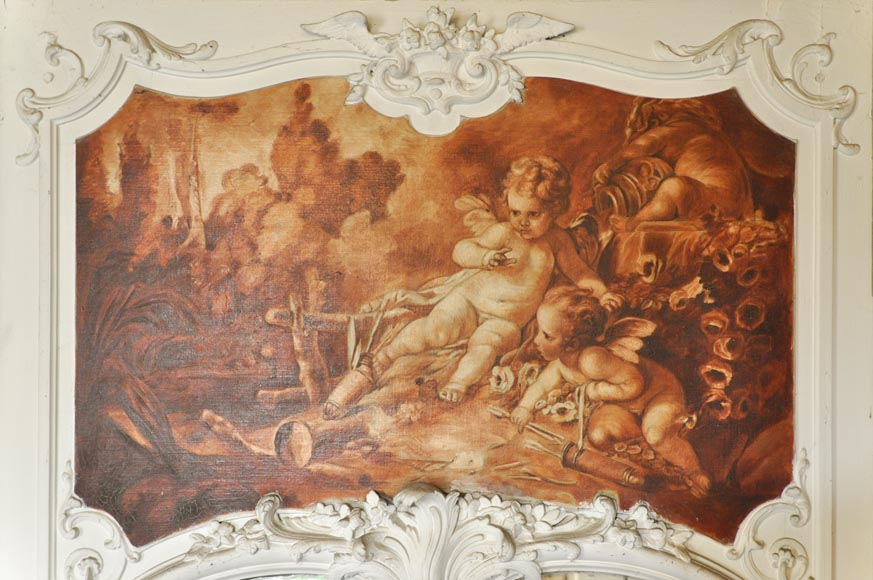 Louis XV style Overmantel depicting putti playing with arrow-6
