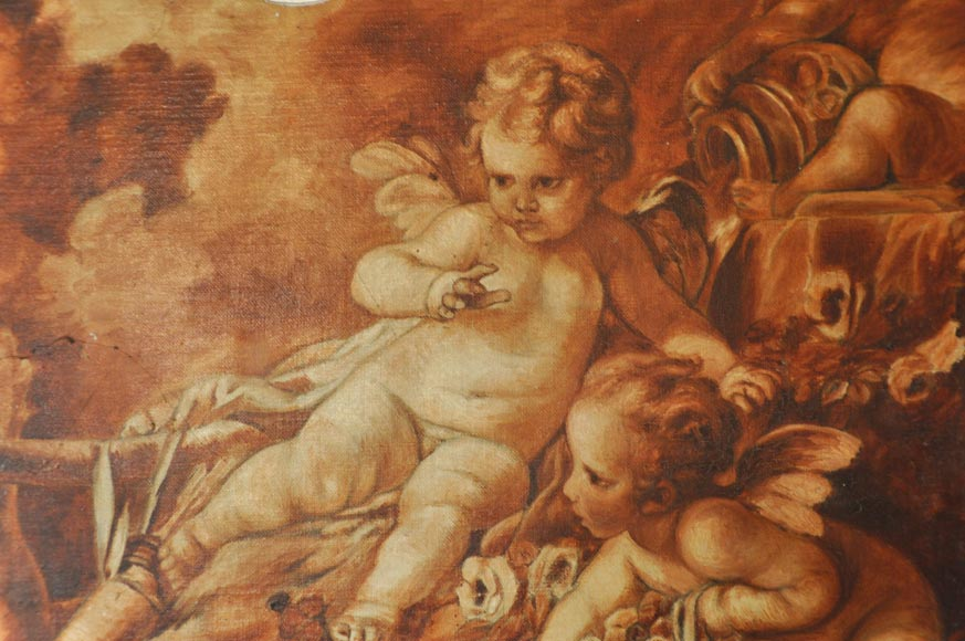 Louis XV style Overmantel depicting putti playing with arrow-7