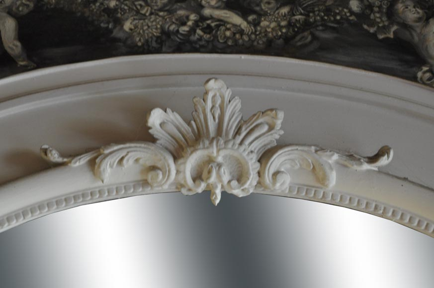 Louis XV Style overmantel, depicting putti painted in grisaille-1