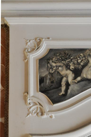 Louis XV Style overmantel, depicting putti painted in grisaille-2