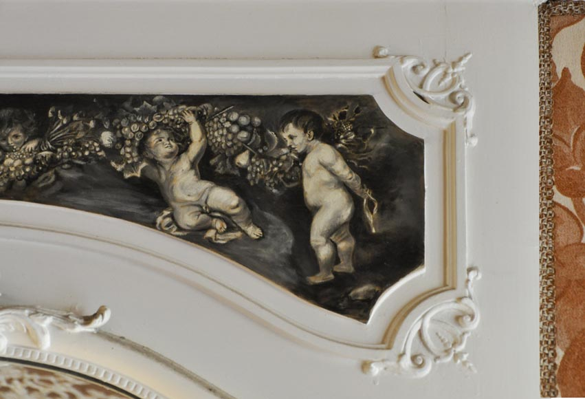 Louis XV Style overmantel, depicting putti painted in grisaille-3