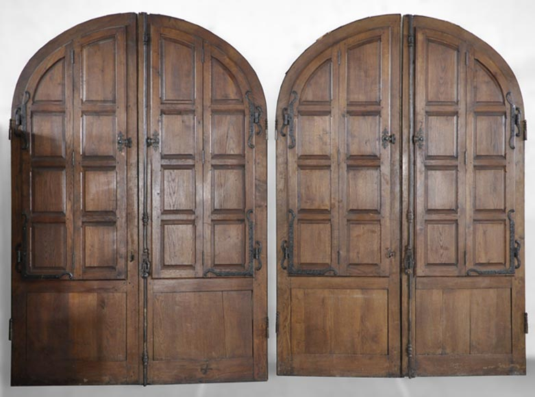 Important pair of doors in oak with flaps - Reference 10250
