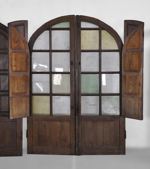 Important pair of doors in oak with flaps-2