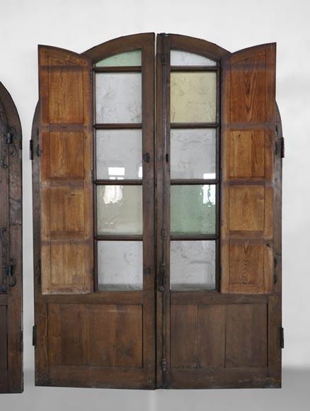 Important pair of doors in oak with flaps-3