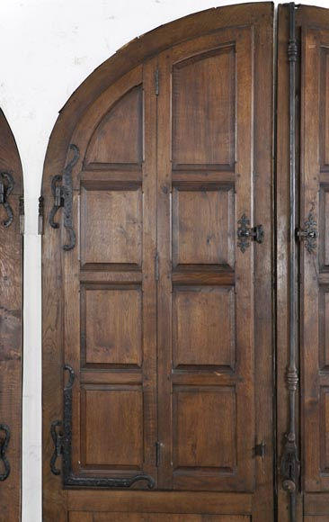 Important pair of doors in oak with flaps-4