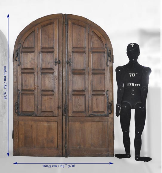 Important pair of doors in oak with flaps-10
