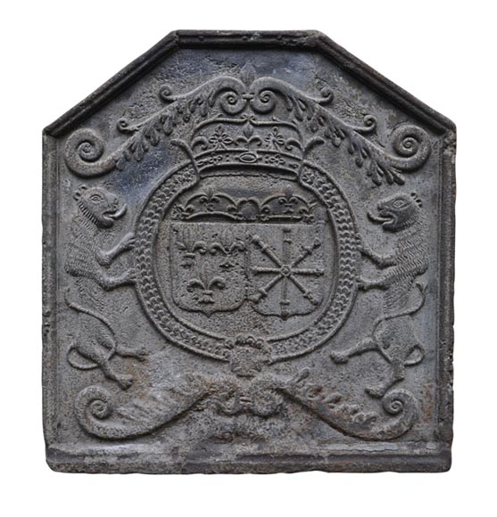 Beautiful antique 18th century fireback with France and Navarre coat of arms-0