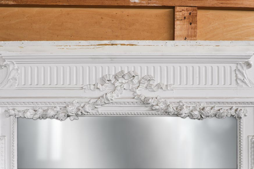 White Louis XVI style Overmantel topped with a fluted lintel-1