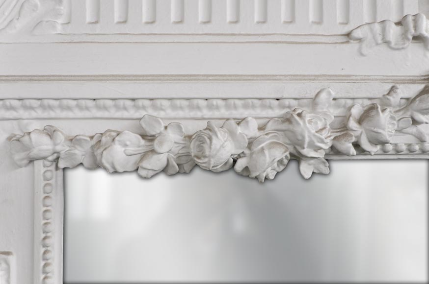White Louis XVI style Overmantel topped with a fluted lintel-3