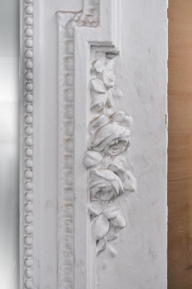 White Louis XVI style Overmantel topped with a fluted lintel-4