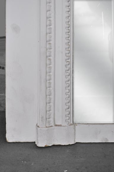 White Louis XVI style Overmantel topped with a fluted lintel-5