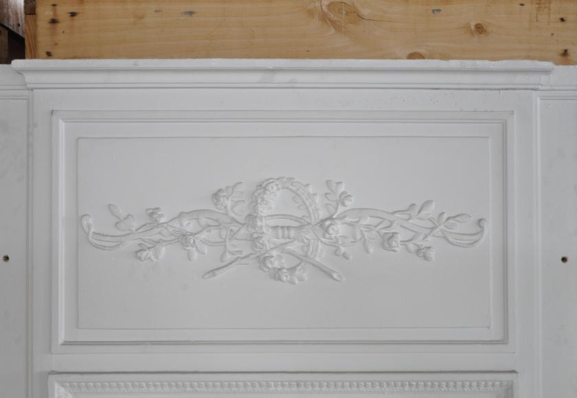A Louis XVI style painted in white Overmantel with a bow-1