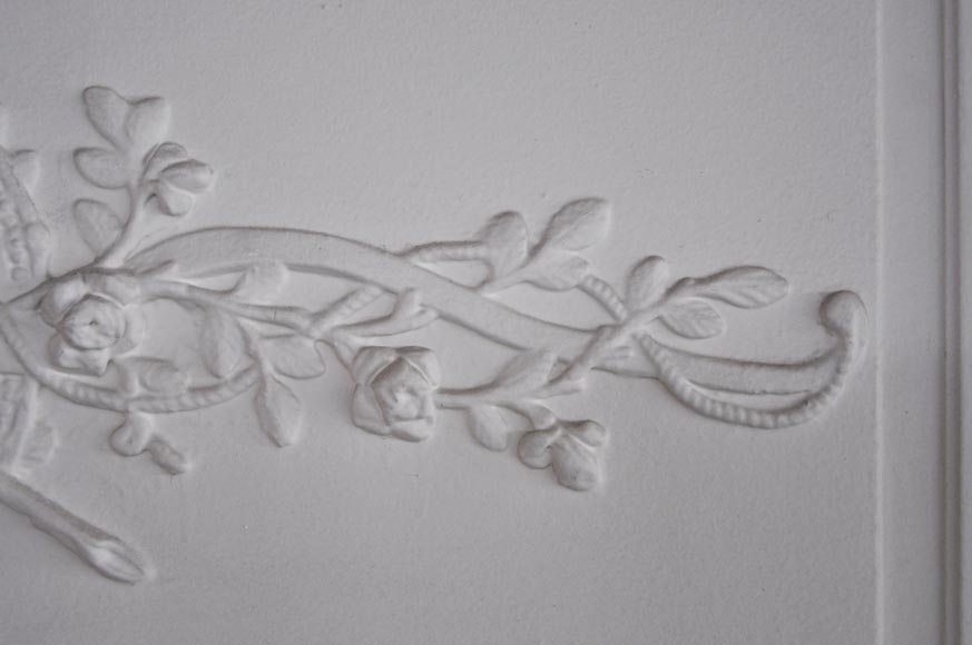A Louis XVI style painted in white Overmantel with a bow-2