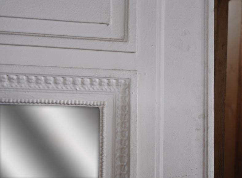 A Louis XVI style painted in white Overmantel with a bow-3