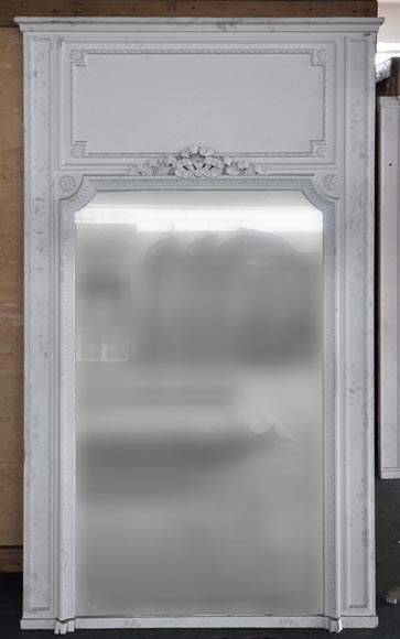 Antique Louis XVI style overmantel mirror with tied ribbon decor - Reference 10268