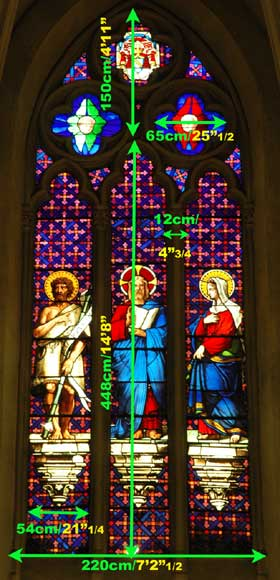 Stained glass window from a chapel with Jesus as central figure-4