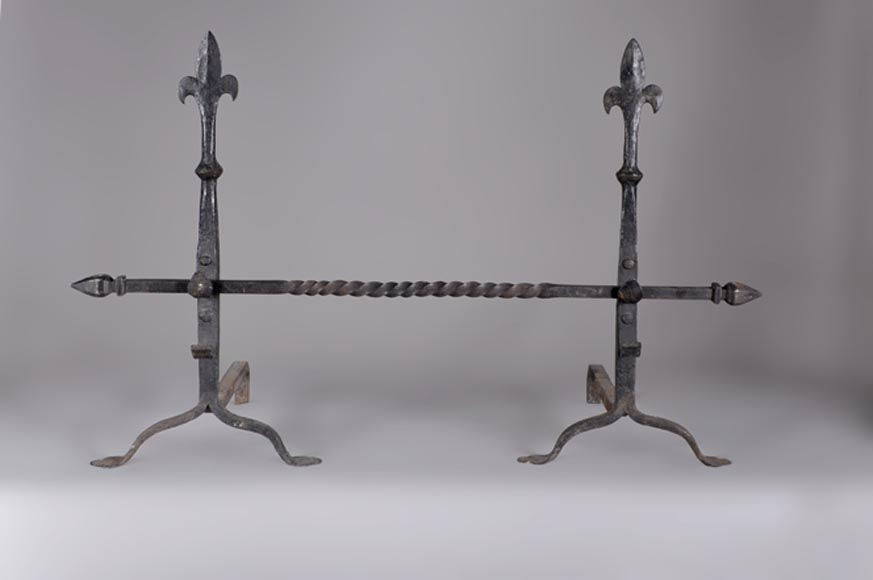 Pair of Neo Gothic style wrought iron andirons, around 1900-0