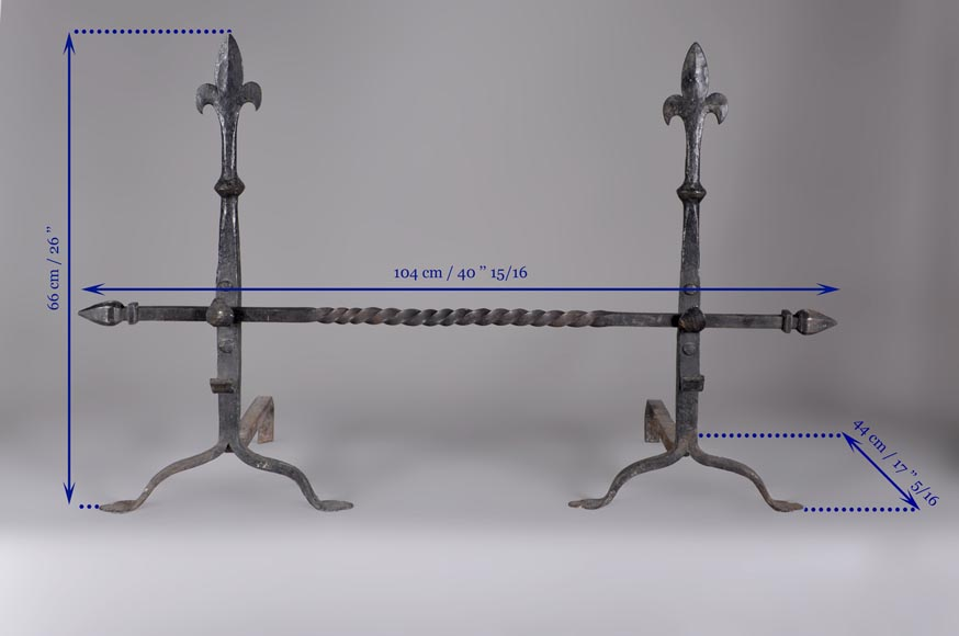 Pair of Neo Gothic style wrought iron andirons, around 1900-6
