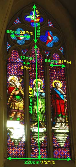 Stained glass window from a chapel with Mary as central figure-5