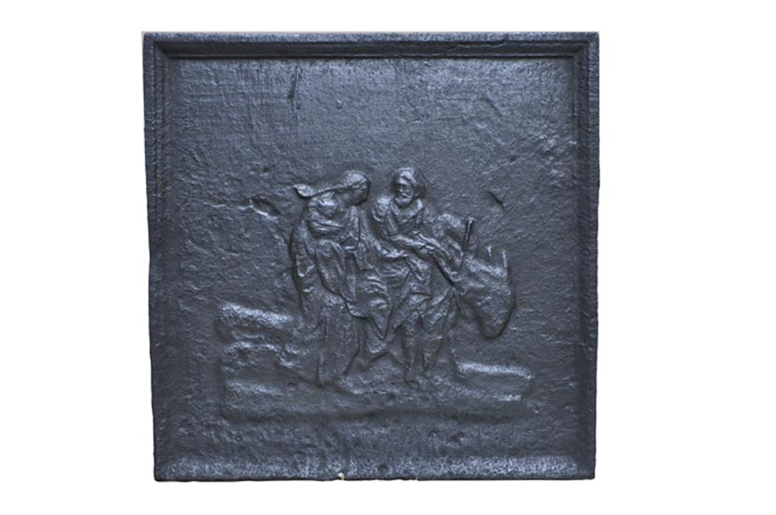 """Flight into Egypt"" - cast iron Fireback from the 19th Century - Reference 10282"
