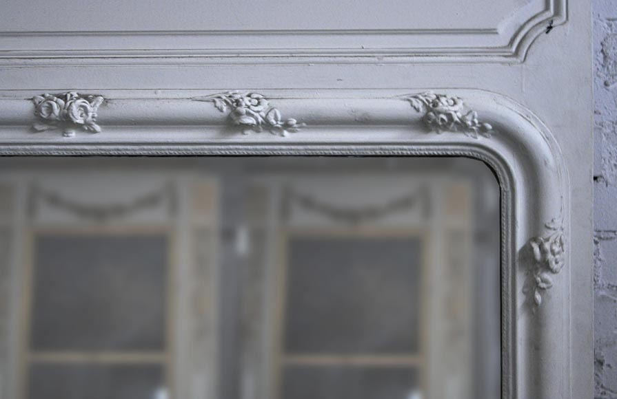 Antique Louis XVI style pierglass with flowered frame-2