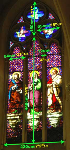 Stained glass window from a chapel with Saint Anne as central figure -5