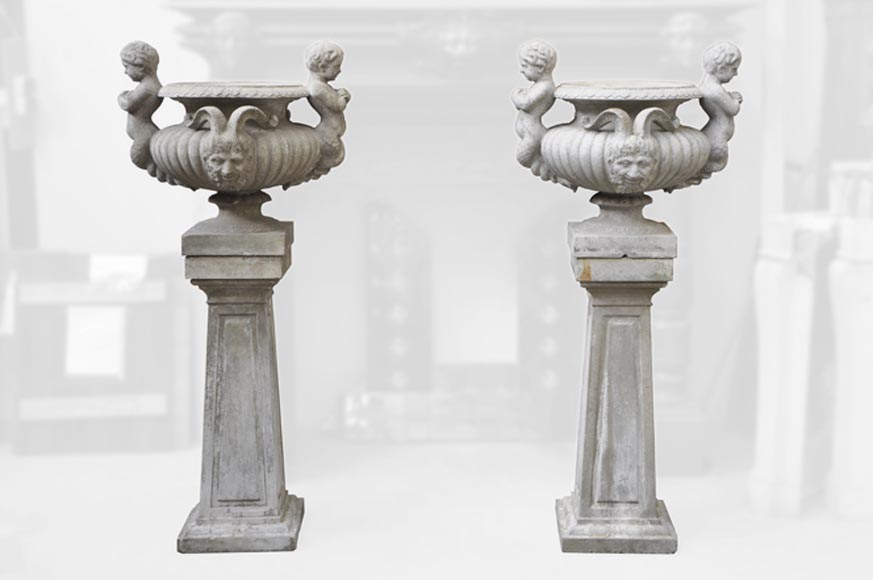 Louis LONATI, Pair of Vases with tritons and fauns decor, with their original bases-0