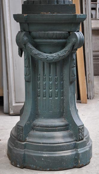 Pair of cast iron Louis XVI style vase with theirs originals bases-5