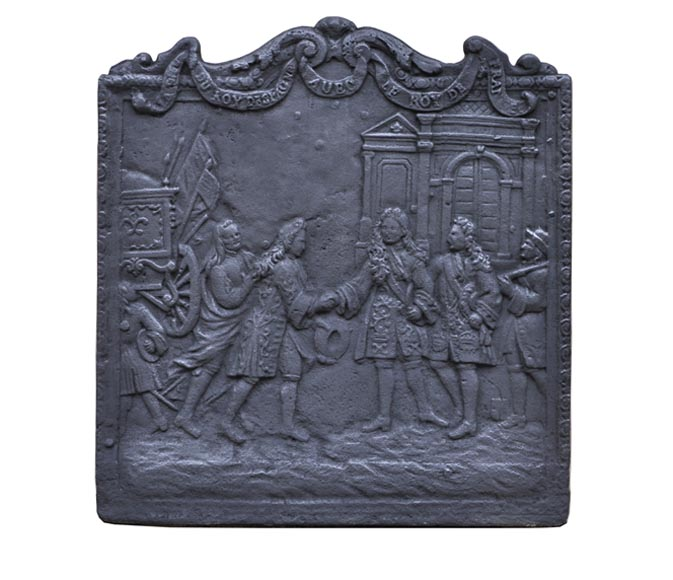 Antique cast iron fireback depicting the meeting between the King of France and of Spain - Reference 10301
