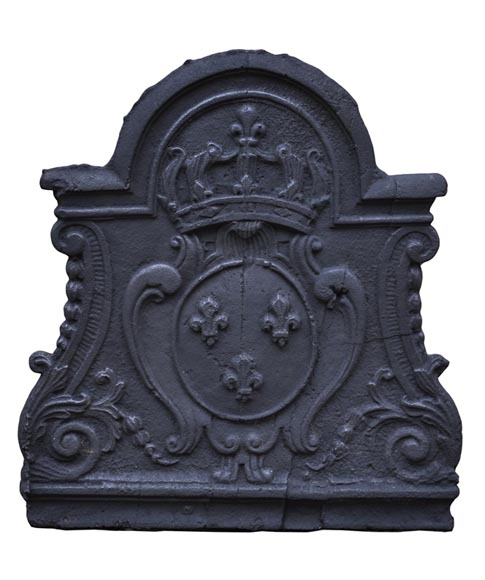 Antique cast iron fireback with the Crown of France - Reference 10302