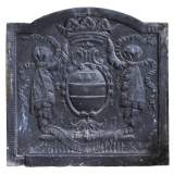 Antique fireback with crowned armorial bearings