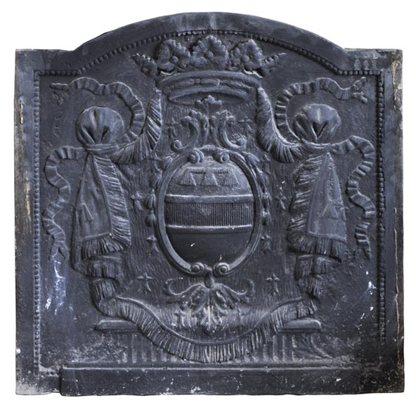 Antique fireback with crowned armorial bearings-0
