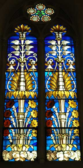 Stained glass windows with floral designs -0